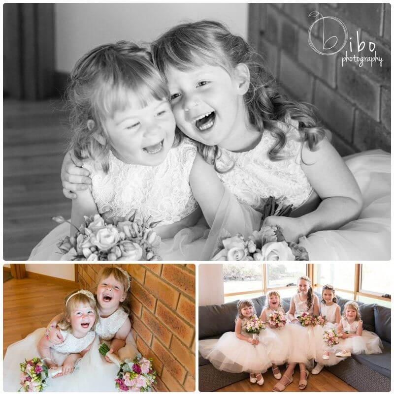 Flower girls laughing before wedding ceremony