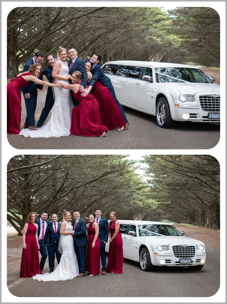 Limo photography with Bridal party