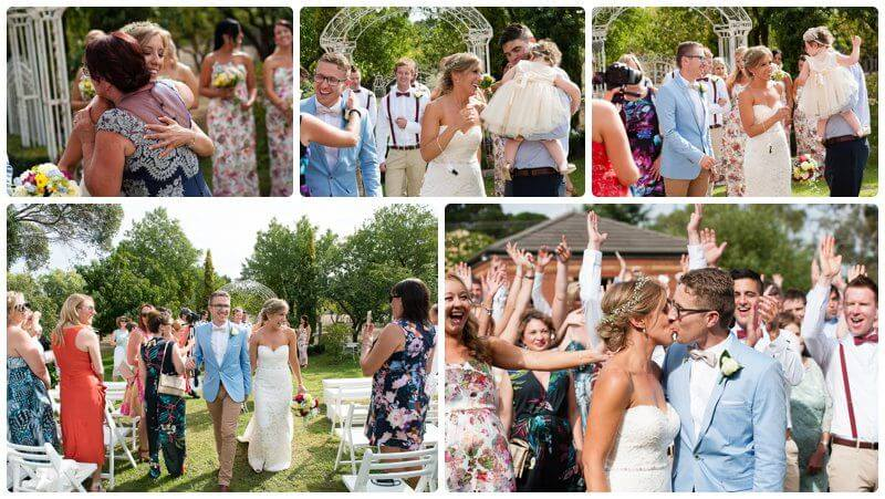 Outdoor family home wedding reception